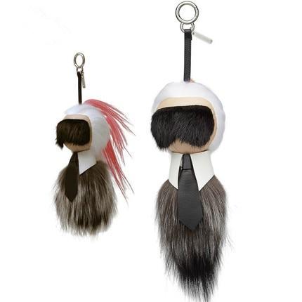 Galeries Lafayette Pendant Fur Handbag Accessories Fox Hair Mink Car Key Chain
