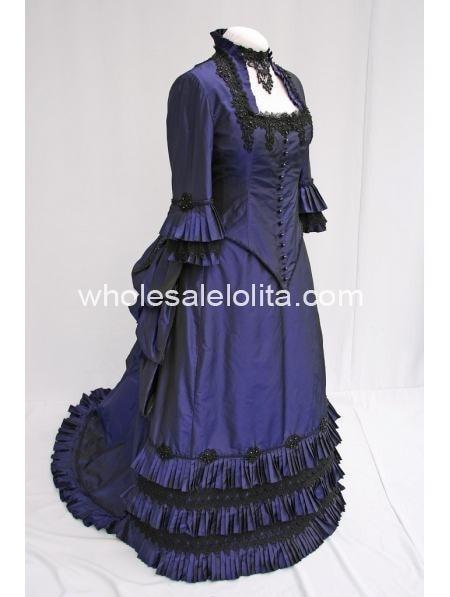 Robes robes Victoriennes partie Bal Robe Bleu fonction 1830 Robe S Perles Blue Agitation Bal Foncé De Deep Taffetas qBCg4