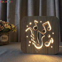 LED 3D Lamp Saxophone Wooden Table Lamps Crative Gift Bedroom Decoration Support Droshipping