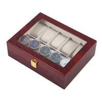 10 griglie Retro Rosso Titolare Imballaggi di Legno Della Vigilanza di Visualizzazione Della Cassa Durevole Collezione di Gioielli di Stoccaggio Orologio Organizer Box Cofanetto