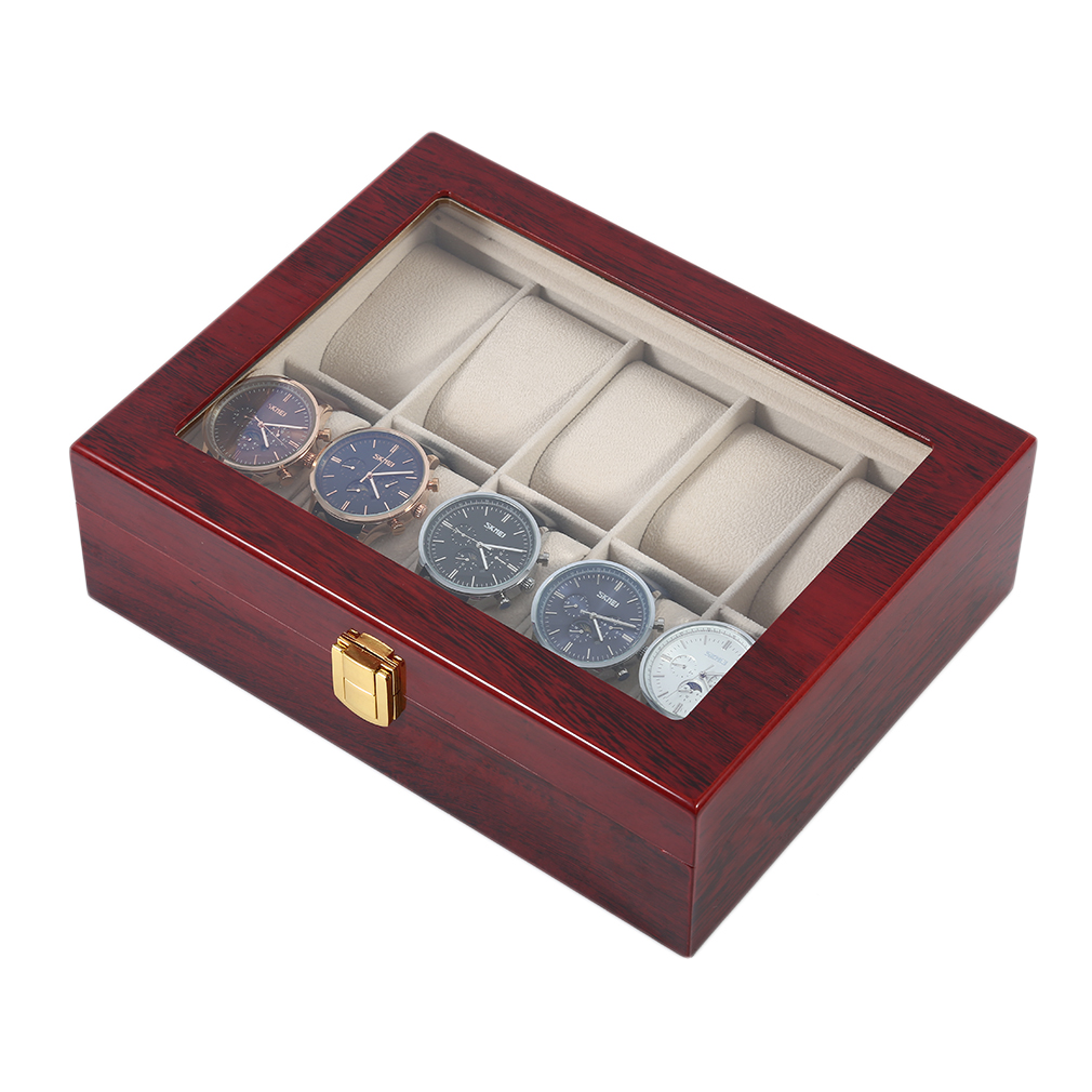 Estuche de exposición para reloj de madera rojo retro con 10 rejillas, estuche de exposición duradero para guardar joyas, colección de almacenamiento, caja organizadora para reloj