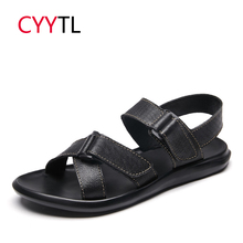 CYYTL 2019 Summer Men Leather Sandals Classic Black Slippers Outdoor Beach Sneakers Male Flip Flops Casual Shoes Tenis Masculino