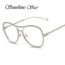 Pop Age New Diamond Glasses Women Metal Frame Eyeglasses Female Fashion Brand Design Optical Spectacles for Lady Lunettes