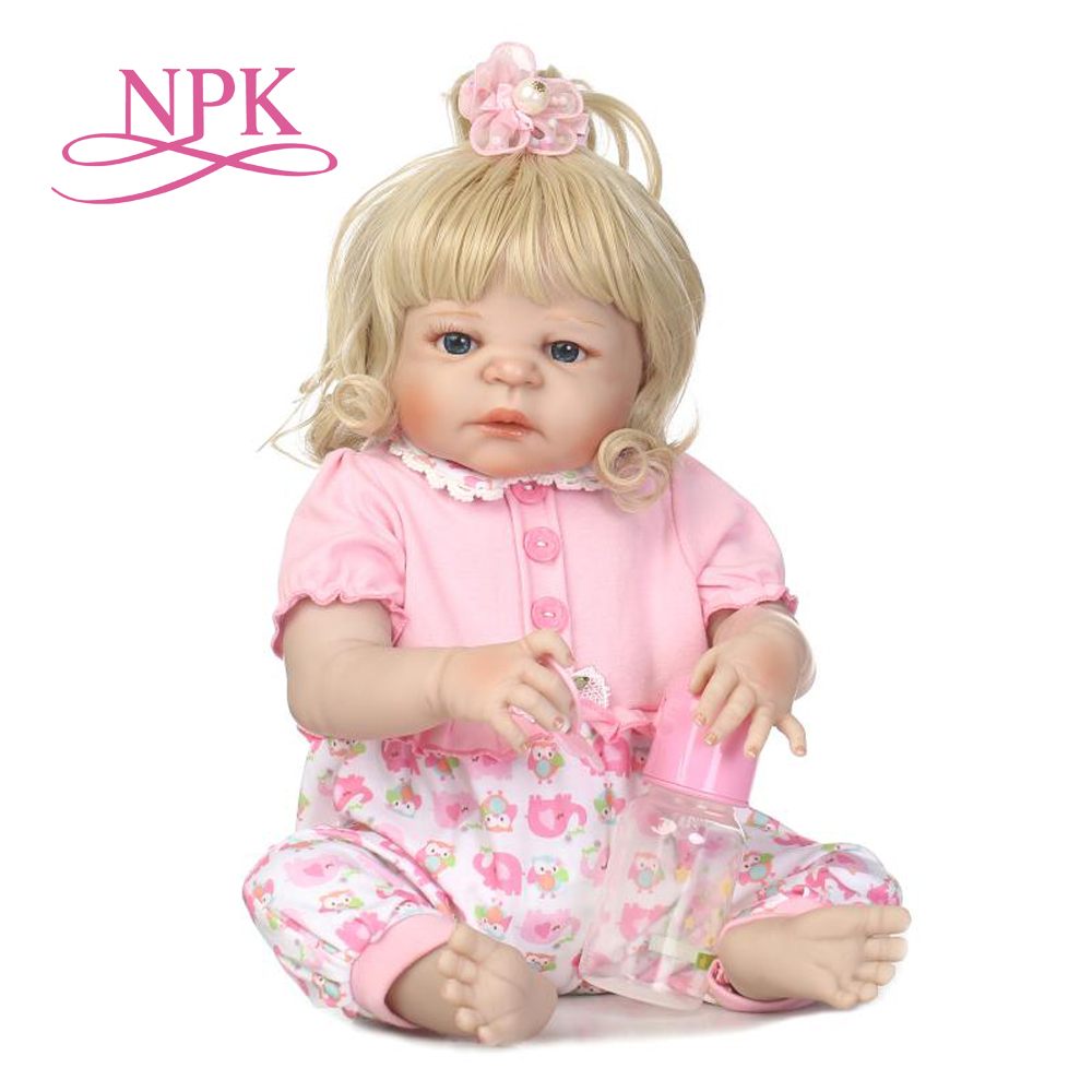 NPK full vinly reborn baby girl doll soft real gentle touch new design hair style gift for children Birthday 2015 new design 24inch reborn toddler baby doll rooted human hair fridolin lifelike sweet girl real gentle touch