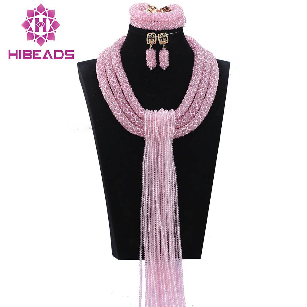 Graceful Baby Pink African Crystal Beads Jewelry Sets Crystal Beads Falls Bridesmaid Necklace Set Gift Free Shipping WD964