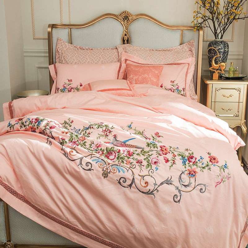 Luxury 100S/1000TC Egyptian Cotton Pastoral Style Flowers Bird Embroidery Bedding Set Duvet Cover Bed Sheet Bed Linen Pillowcase