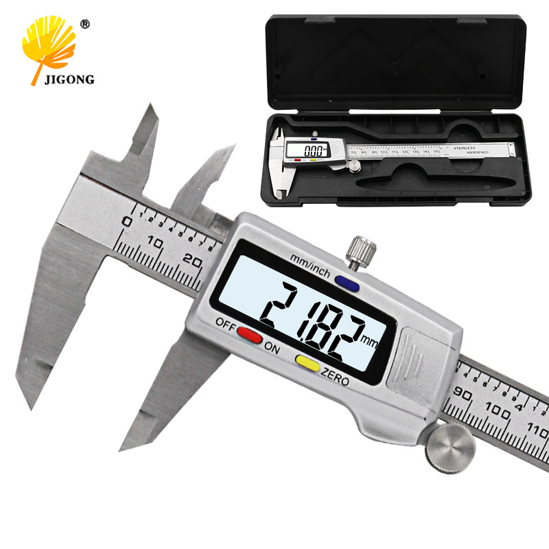 """Herramienta de medición de acero inoxidable pinza Digital 6 """"150mm Messschieber paquimetro instrumento de medición pinzas Vernier"""