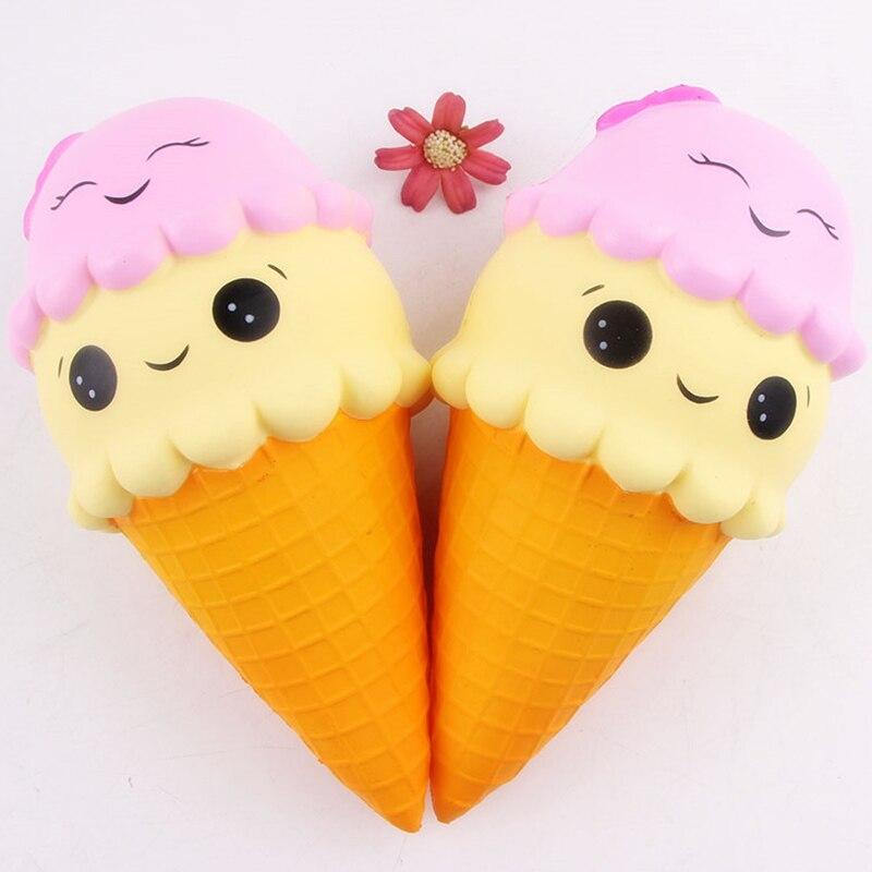 22CM Cartoon Double Smiley Face Ice Cream Squishy Jumbo Slow Rising Phone Strap Slow Rebound Bread Kid Toys
