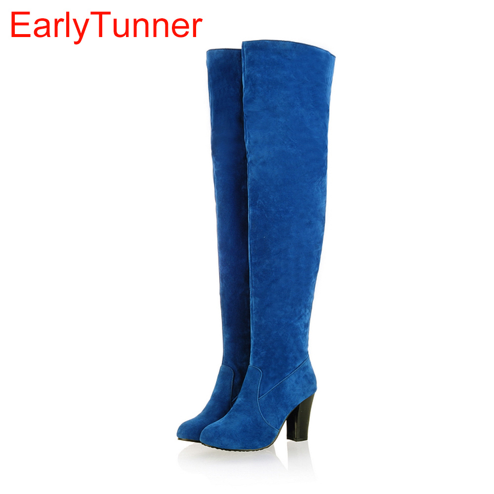 New Winter Western Black Gray Blue Women Over the Knee Thigh High Boots Ladies Shoes Heel AD89H Plus Big Size 43 10 Flock Warm women over the knee boots black velvet long boots ladies high heel boots sexy winter shoes chunky heel thigh high boots