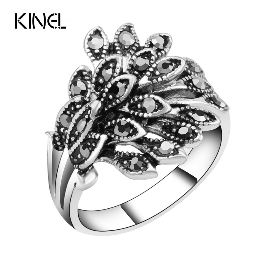 Hot Wholesale Vintage Jewelry Wedding Rings For Women Color Silver Mosaic Black Crystal Anillo Gift Accessories