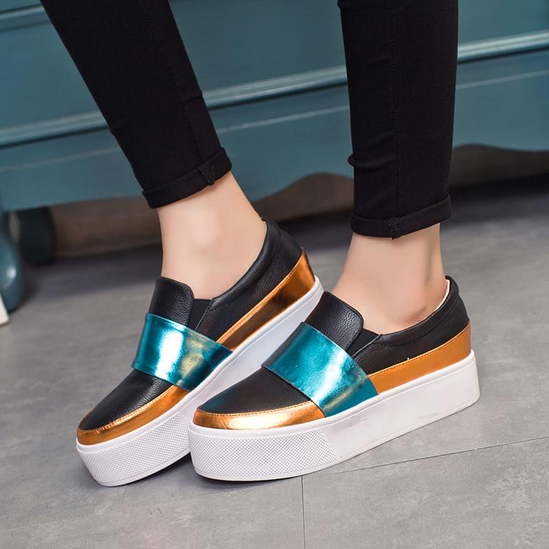 Mujeres de cuero Real del Slip on de los holgazanes suela gruesa plataforma  Comfort Flat zapatos
