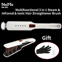 Steam Hair Brush Fast Heating Hair Straightener Comb Vapor Electric Hair Brush Comb Ionic Infrared Straightening
