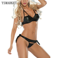 New Female Sexy Black Halter Faux Leather Latex Open Cup Bra G String Lingerie Set PVC
