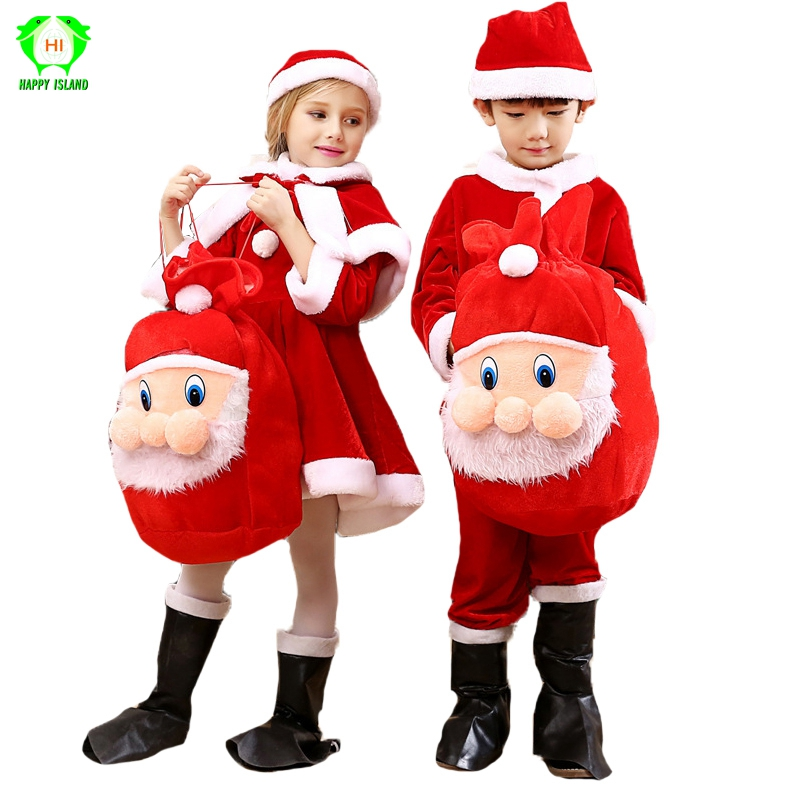 Children's Christmas Cosplay Costume for Kids Boys Girls Xmas Santa Claus Clothes Red Santa Claus Suit + Backpack