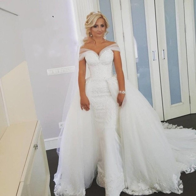 A Line White Long Off Shoulder Lace Over Skirts Wedding Dress With