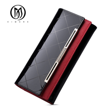 EIMORE Patent Leather Women Wallet Female Long Clutch Lady W