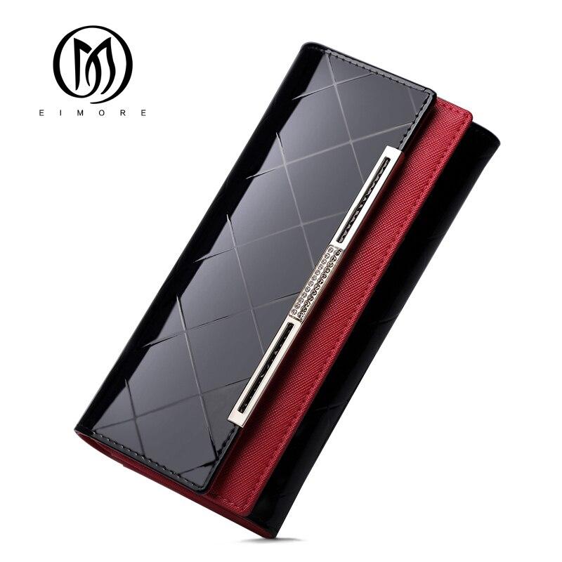 EIMORE Patent Leder Frauen Brieftasche Weibliche Lange Kupplung Dame Walet Portomonee Rfid Luxus Marke Geld Tasche Für Mädchen Geldbörse
