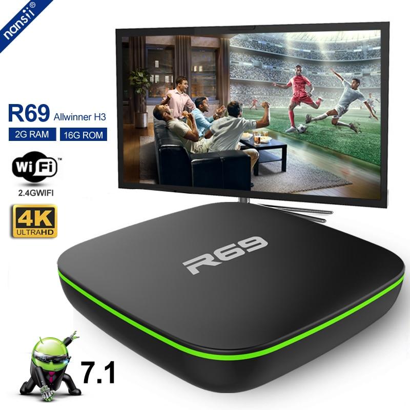 Allwinner H3 Quad Core R69 Smart Android 7 1 TV Box 1GB 8GB 2GB 16GB 2