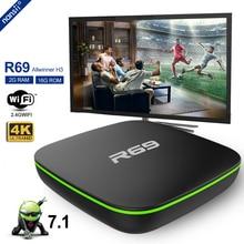 Allwinner H3 четырехъядерный R69 Smart Android 7,1 tv Box 1 ГБ 8 ГБ 2 Гб 16 Гб 2,4 г Wifi телеприставка 1080 P HD медиаплеер