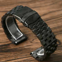 20mm 22mm 24mm Tank Stainless Steel Watchband Bracelet Solid Link Wrist Band Strap Replacement Bangle Push Button +2 Spring Bars