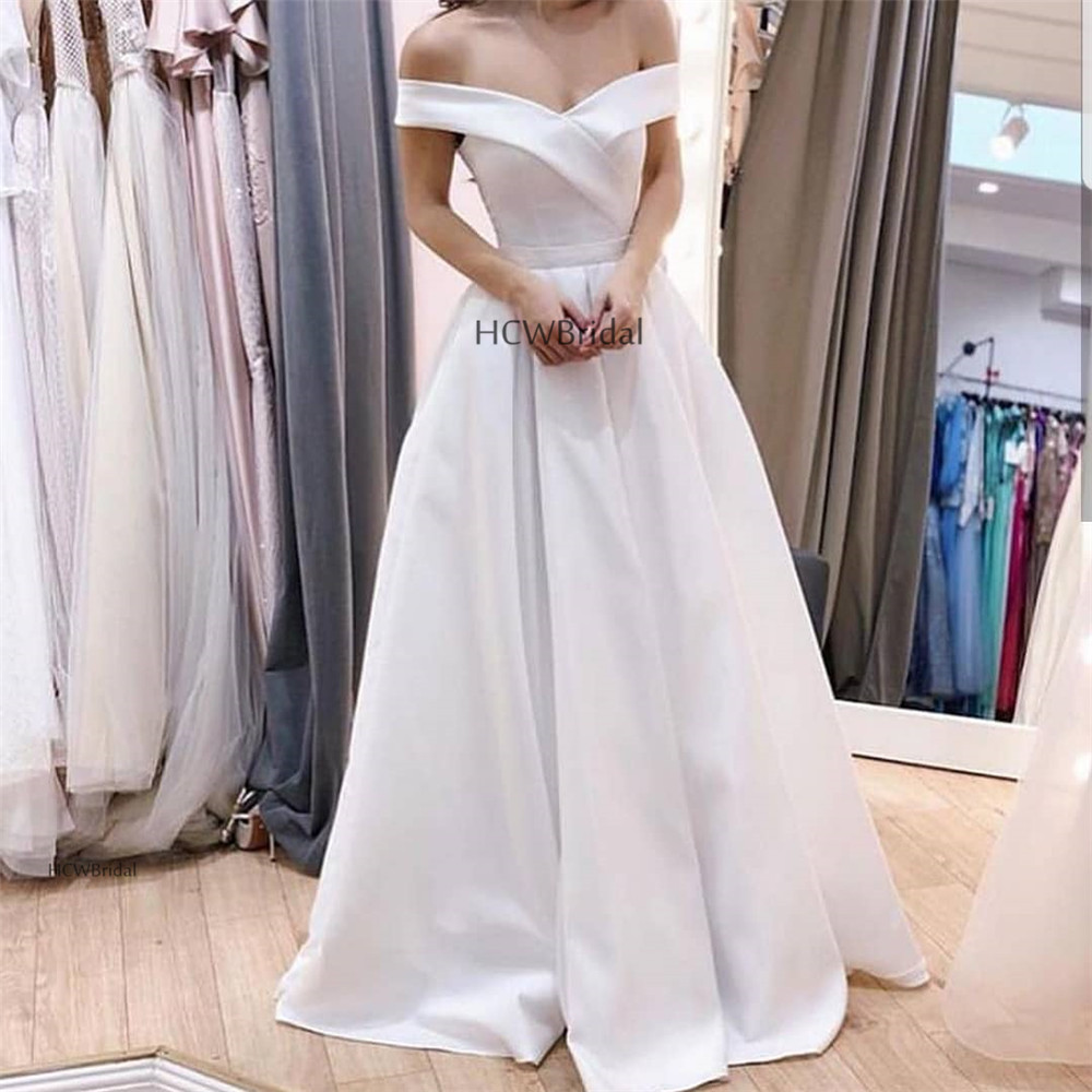White   Prom     Dresses   2019 Simple Off The Shoulder A Line Floor Length Long Elegant Formal Evening Gowns Cheap Women Party   Dress