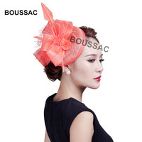 Fashion Charming Sinamay Veils Fascinator Hats Wedding Headpiece with clips Cocktail Party fedora women elegand feather KNOF15