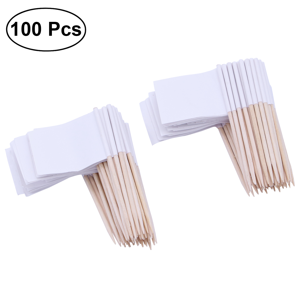 Pack of 100 Racing Flag Toothpicks Flag Picks Appetizer Toothpicks Fruit Sticks for Cocktail Party Accessory - White(China)