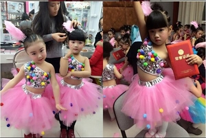 Image 5 - childrens dance stage costume for girls modern kids jazz dance costumes sequin clothes for salsa contemporary dance dress girls