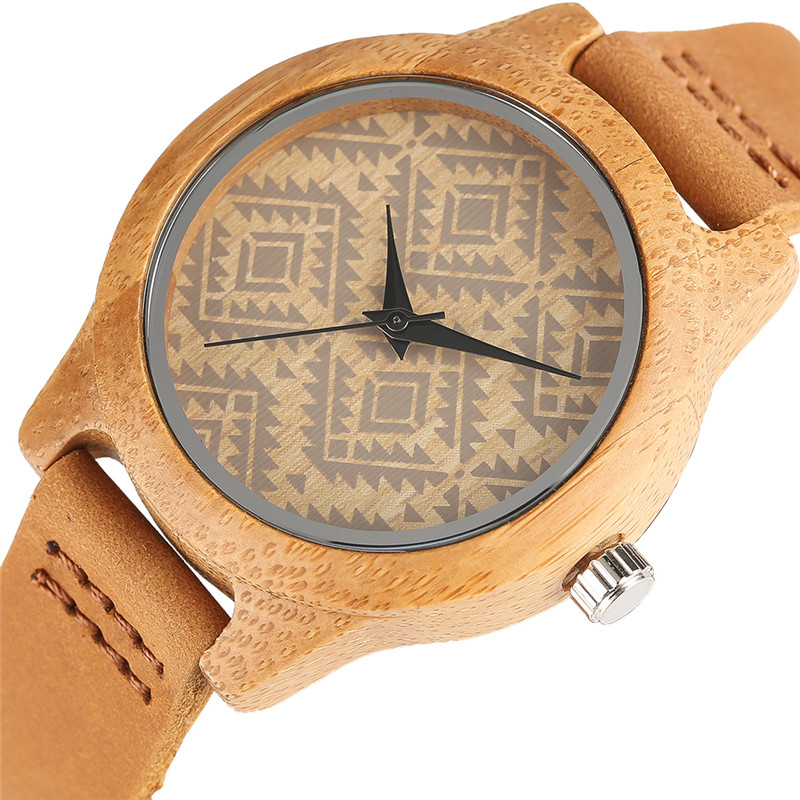 Unique Boho Style Bracelet Square Face Wooden Watch For Women Bamboo Female Clock Real Leather Band Fashion Ladies Girls Gifts