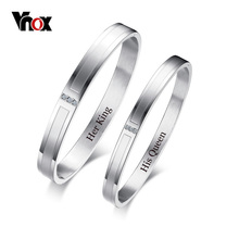 Vnox Free Customize Engraving Cuff Lovers Bracelet Bangle for Women Men with Bling AAA Cubic Zirconia Dating Gift Jewelry