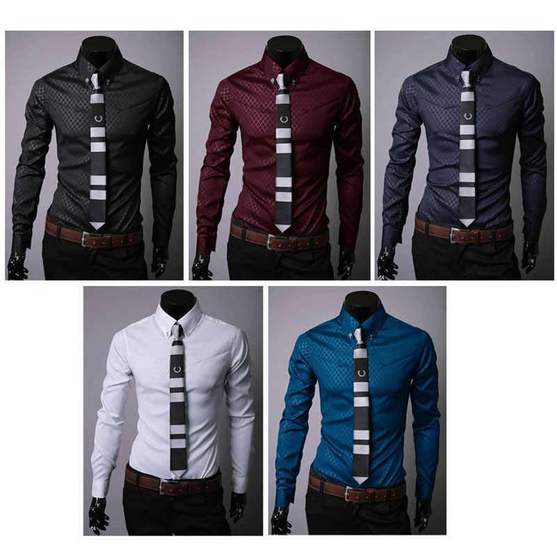 Mode mannen Luxe Casual Shirts Slim Fit Overhemden Lange Mouw Knop Tops