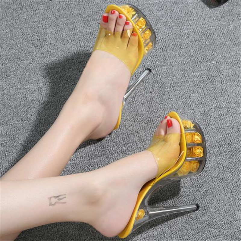 WADNASO Model Catwalk Women Shoes Slippers Explosive Sexy Floral High heel Shoes 15CM Sandals Crystal Shoes Female Wedding Shoes in Slippers from Shoes