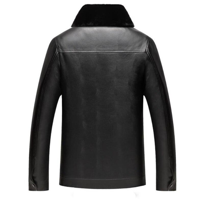 Manteau Hommes Couro Col De En Cuir 4xl Grande Hiver Noir Épais Taille D'âge Laine Pu Veste Masculina Fourrure marron Nouveaux Jaqueta Moyen OqdxpSx