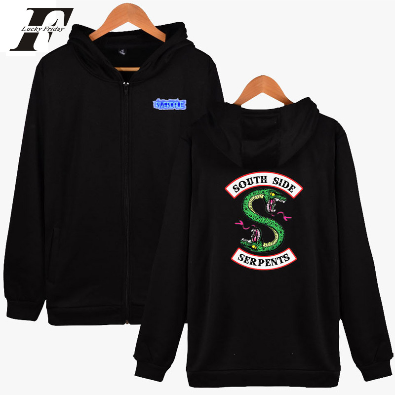 LUCKYFRIDAYF 2018 BTS Riverdale Men Hoodies Sweatshirts With Zipper Winter Autumn Jackets Men Spring south side serpents Fsshion