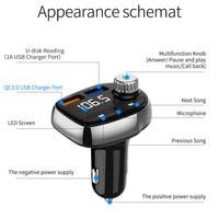 fm משדר רכב Bluetooth FM משדר אלחוטי Hands Free Kit MP3 מוסיקה נגן תמיכה TF כרטיס 5V 2.1a USB מטען FM אפנן # WL1 (4)