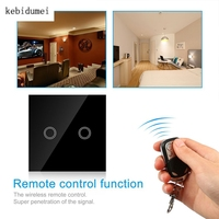 Kebidumeimei EU Standard ST1 2Gang 170 240V 433MHz Wall Switch Touch Switch Smart Remote Control Luxury