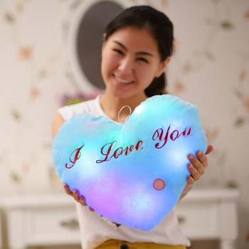 Gift for girlfriend Glow heart pillow LOVE YOU present new year Christmas valentine's day gift anniversary