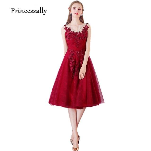 516f6b2922b Robe soriee 2017 Nuevo vino rojo vestido de noche Appliques rebordear  Bordado Sheer Masajeadores de cuello
