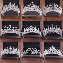 Wedding Crystal Crown and Tiara Bride Hair Accessories Wedding Crown Head Pieces Silver Tiara Nupcial Diadem Head Jewelry