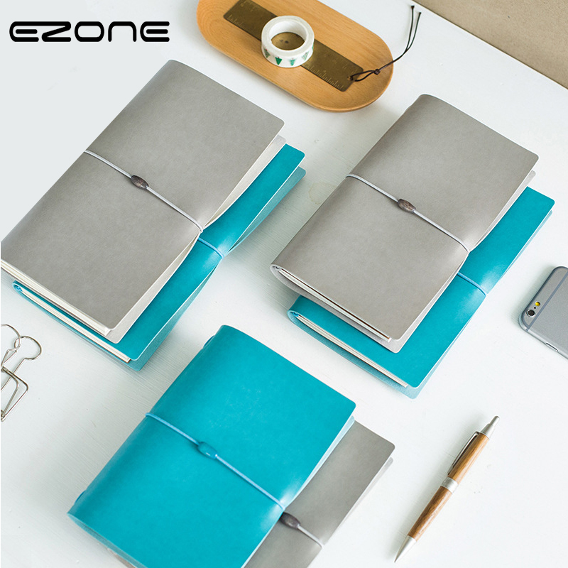 EZONE PU Bandages Notebook Pure Blue/Grey Color Note Book 3 Size Literary Notepad Traveler Journey Daily Diary Office SuppliesEZONE PU Bandages Notebook Pure Blue/Grey Color Note Book 3 Size Literary Notepad Traveler Journey Daily Diary Office Supplies