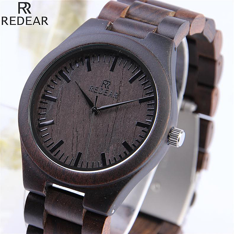 REDEAR Vintage Full Wood Wrist watches Men Watch Ebony Bamboo Wooden Watches Wood Strap Men's Watch Japanese Movement Clock saat simple brown bamboo full wooden adjustable band strap analog wrist watch bangle minimalist new arrival hot women men nature wood