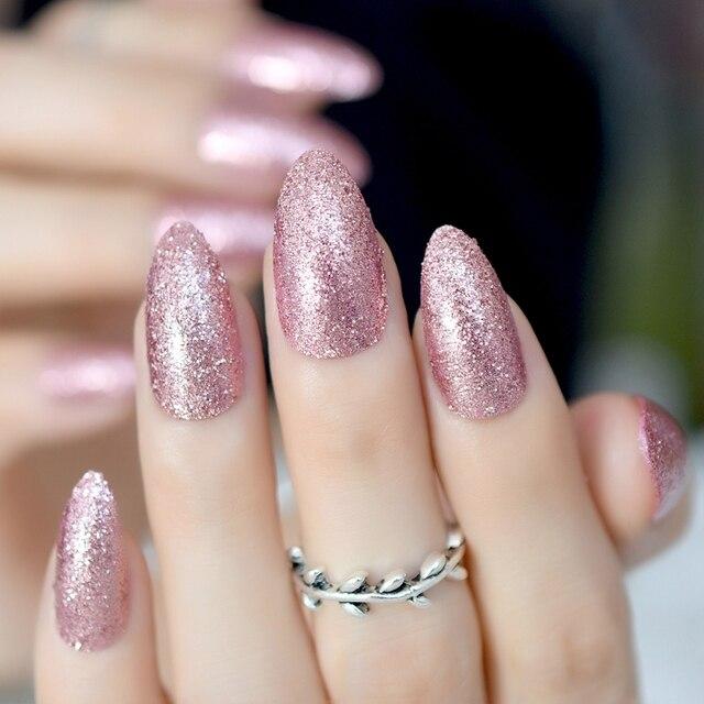 Rose Gold Press On Nail Almond Design Artificial False Nails Glitter Full Tips Shiny Manicure