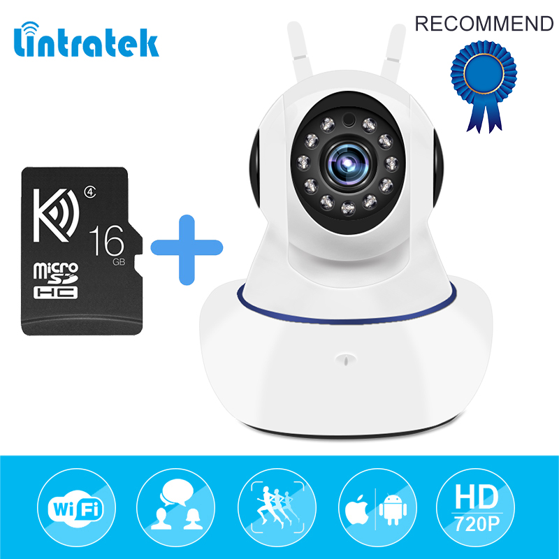 IP Surveillance Security Camera HD 720P wifi mini CCTV wireless Camera Home Security Baby Monitor Cam with 16G SD Card LINTRATEK smarsecur wire free ip camera 720p hd no wire 6400mah 8 months battery security wifi wireless ip camera with battery