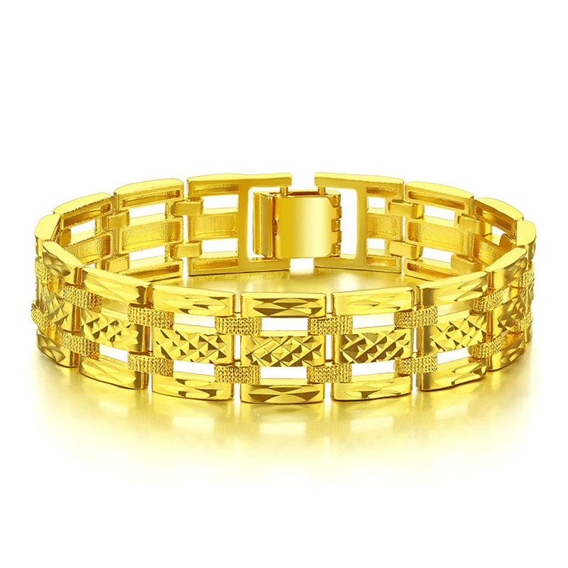 Golden Hip Hop Rock Bracelet Punk Style 15mm 20cm Thick Bracelet Men Woman hollow carved Golden Color Jewelry Gift Wholesale in Cuff Bracelets from Jewelry Accessories
