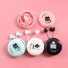 Cute Shy Cat Earphones 3.5mm in-ear Earbud with Portable Earphone Case Microphone for Kids iPhone Samsung Xiaomi Girls Gifts