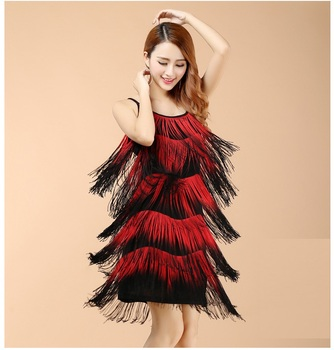 New Sexy Lady Professional Latin Dance Dresses Party Night Club Tassel Jazz Salsa Stage Dance Wear For Women 3 Colors