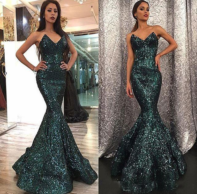 2bfeb628 Glitter Mermaid Prom Dress Sweetheart Bling Bling Prom Gowns Formal Evening Gowns  Sequin Robe de soiree