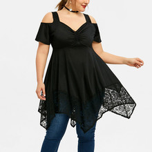XL-5XL Fashion Women Plus Size Lace Off Shoulder Blouse Ladies Loose Shirt Top Casual Short Sleeve