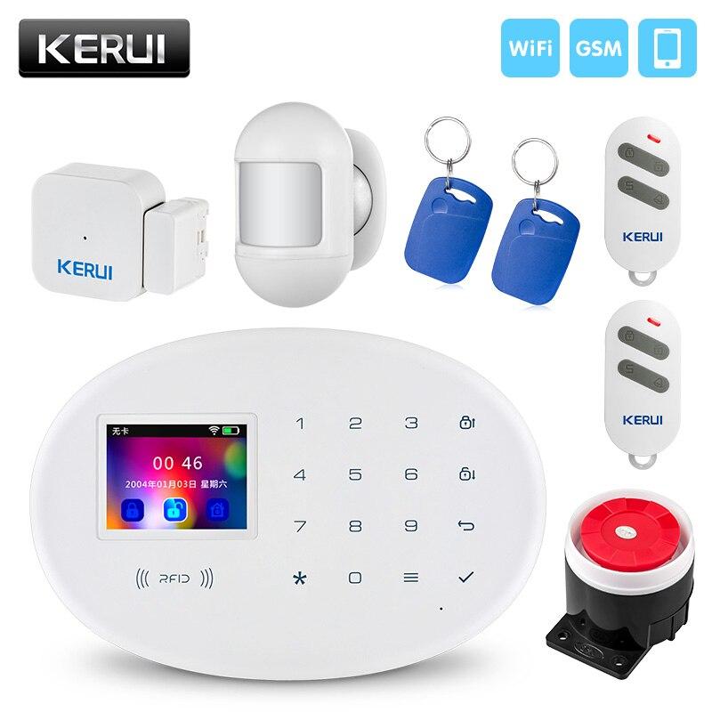 KERUI беспроводной умный дом Wi-Fi GSM охранная сигнализация с 2,4 дюймов TFT сенсорная панель RFID карта дверной датчик охранной сигнализации