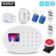 KERUI اللاسلكية الذكية الرئيسية WIFI GSM نظام إنذار أمان مع 2.4 بوصة TFT لوحة اللمس تتفاعل بطاقة مستشعر الباب لص إنذار